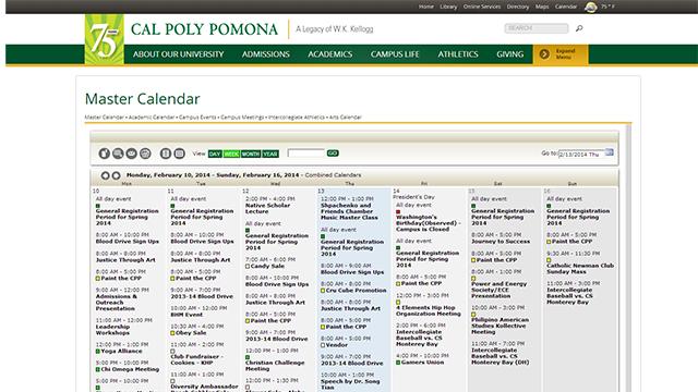Screen shot of the new University Master Calendar.