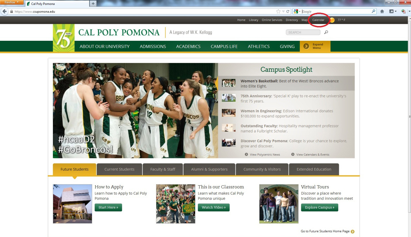 Screen shot of the university home page