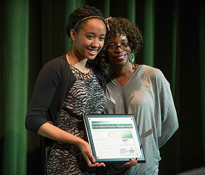 Christine Hall receives the Black Faculty & Staff Association 2014 Diversity Champion award at the Unity Luncheon at Cal Poly Pomona February 25, 2014.