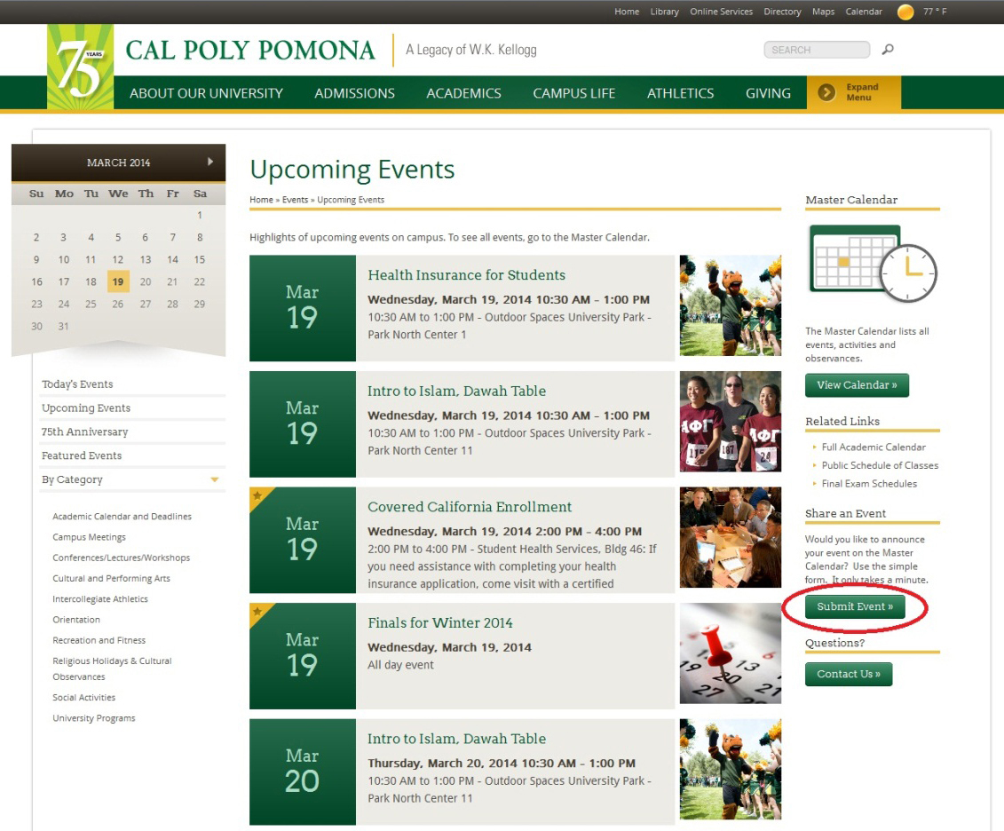 Screen shot of the Campus Events web page