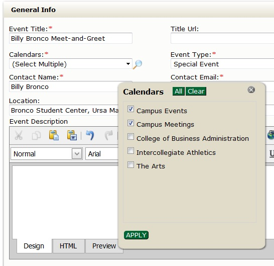 Screen shot of the calendar options in the master calendar submission form