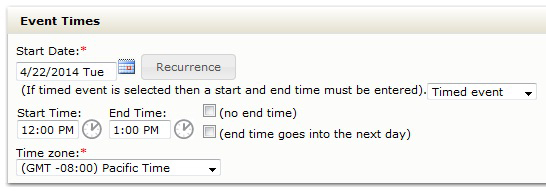 Screen shot of the time and date options in the master calendar event submission form.