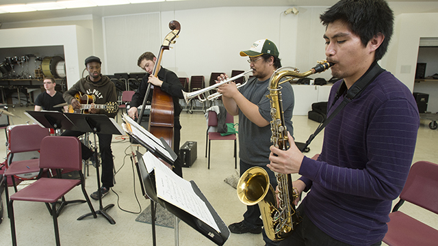 Andres Meza, Mark Endab, Jacob Cook, Bradford Tidwell and Michael Oktay of the Cal Poly Pomona Jazz Combo rehearse for the Monterey Next Generation Jazz Festival.