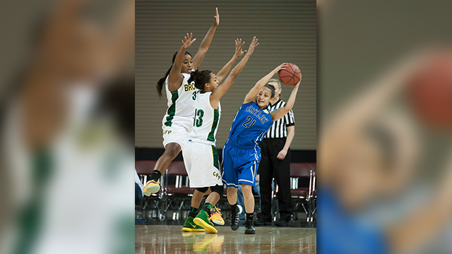 Jada Blackwell and Mian Dingle play defense on Bentley's Chrystal Guarin.