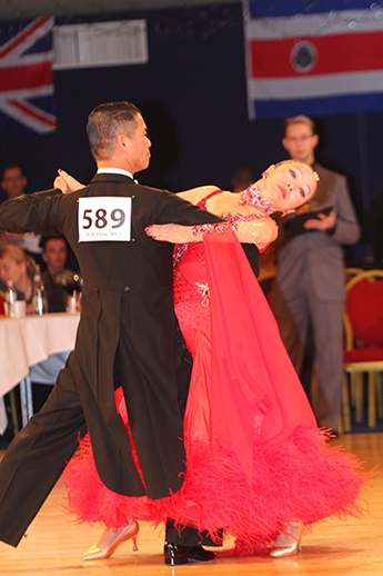 Glendy Yeh and her husband, Terry, dance the tango during a competition.