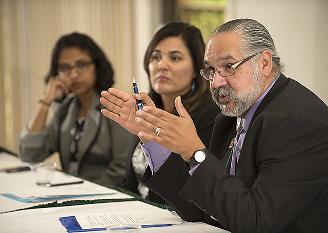 Alfred Herrera, Michele Siqueiros and Dimpal Jain take part in  a discussion  during TRANSFERmation, a roundtable on Transfer Education at Cal Poly Pomona.