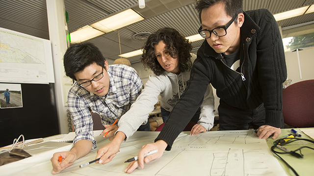 Kevin Yuan, Elena Tucci and Hieu Nguyen work on their project, Reimagine Garden Grove, city of Garden Grove mobility plan and civic center district design as part of their Landscape Architecture 606 studio at Cal Poly Pomona.