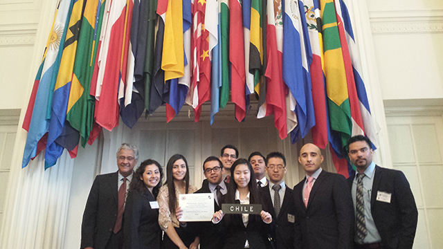 The team of Cal Poly Pomona students who participated in the Model Organization of American States General Assembly in Washington D.C.