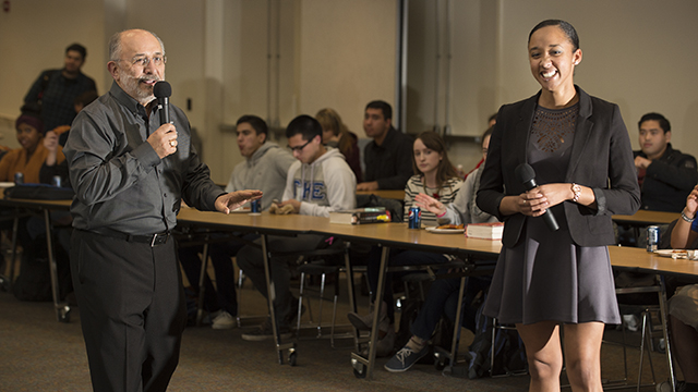 University President Michael Ortiz and ASI President Christine Hall answer questions during Pizza with the Presidents at Cal Poly Pomona