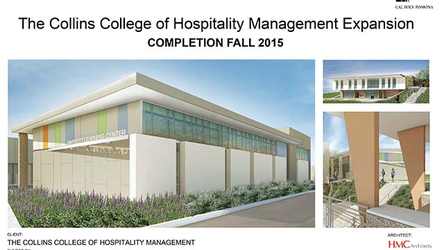 An architect's rendering of the planned expansion at The Collins College of Hospitality Management.