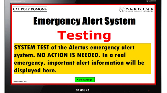 A computer screen capture of the Emergency Alert System Testing notice.