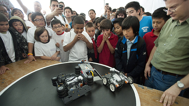 A trio of robots on display from the 2012 competition.