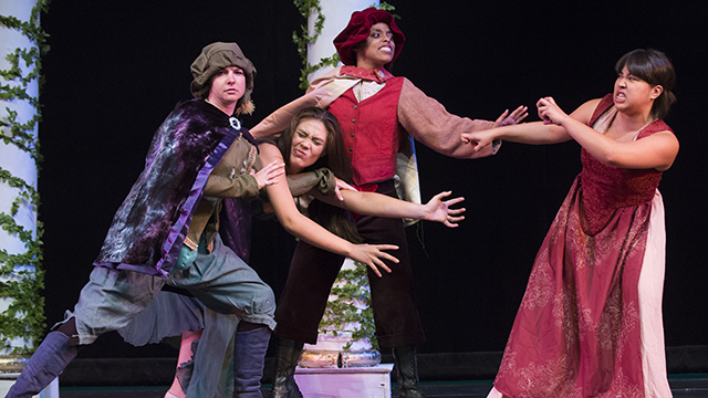 "A scene from last year's production of ""A Midsummer's Night Dream"" at the Southern California Shakespeare Festival. Marissa Pitts as Demetrius, Amy Hatfield as Helena, Tiana Parker at Lysander, Vanessa Babida as Hermia."