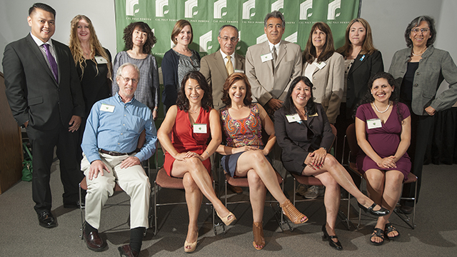 A group photo of the recipients of the 2014 Outstanding Adviser Awards.