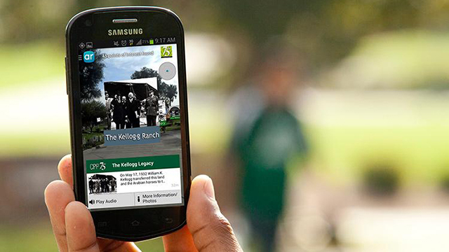 Smartphone display showing the augmented reality tour of Cal Poly Pomona.