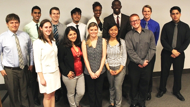 Some of the Cal Poly Pomona students who competed in the 28th Annual CSU Student Research Competition this year at Cal State East Bay.
