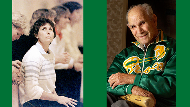 Cal Poly Pomona coaching legends Darlene May and John Scolinos.