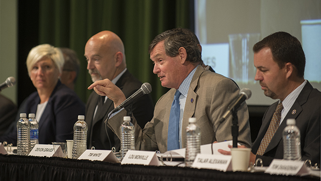 CSU Chancellor Tim White speaks during the open forum for the presidential search committee May 12, 2014 in the Bronco Student Center.
