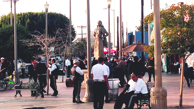 Musicians gather in Mariachi Plaza, a center of activity in Boyle Heights, the site of a recent project by urban and regional planning students.