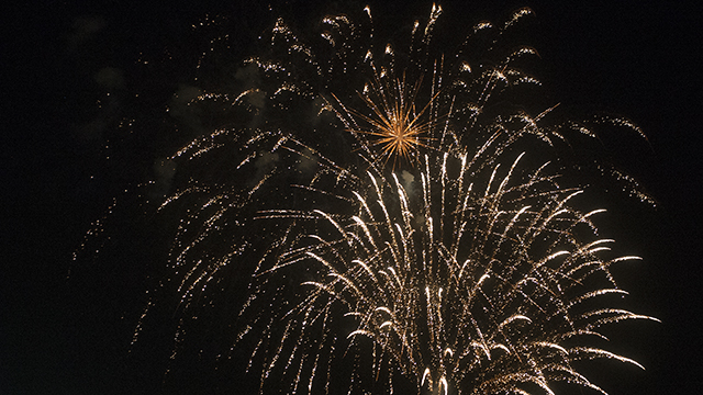 Fireworks light up the sky during the 75th Anniversary Finale at Cal Poly Pomona June 6, 2014.