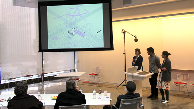 Cal Poly Pomona students making a presentation during a competition at the annual Los Angeles Architectural Awards. The students finished in second place.