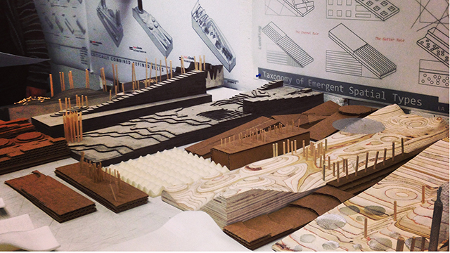 Some of the models that landscape architecture students designed for Los Angeles State Historic Park.