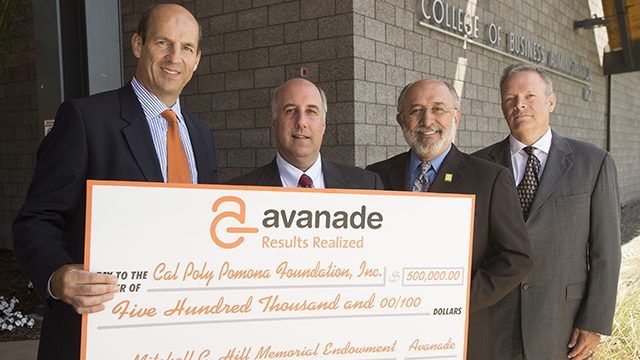 Avanade CEO Adam Warby, Rich Lapidus, President Michael Ortiz and Howard Kilman as Avanade presents a $500,000 donation to the College of Business Administration.