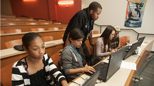 Bethune Middle School take part in the CyberPatriot Program for middle school students at Cal Poly Pomona.