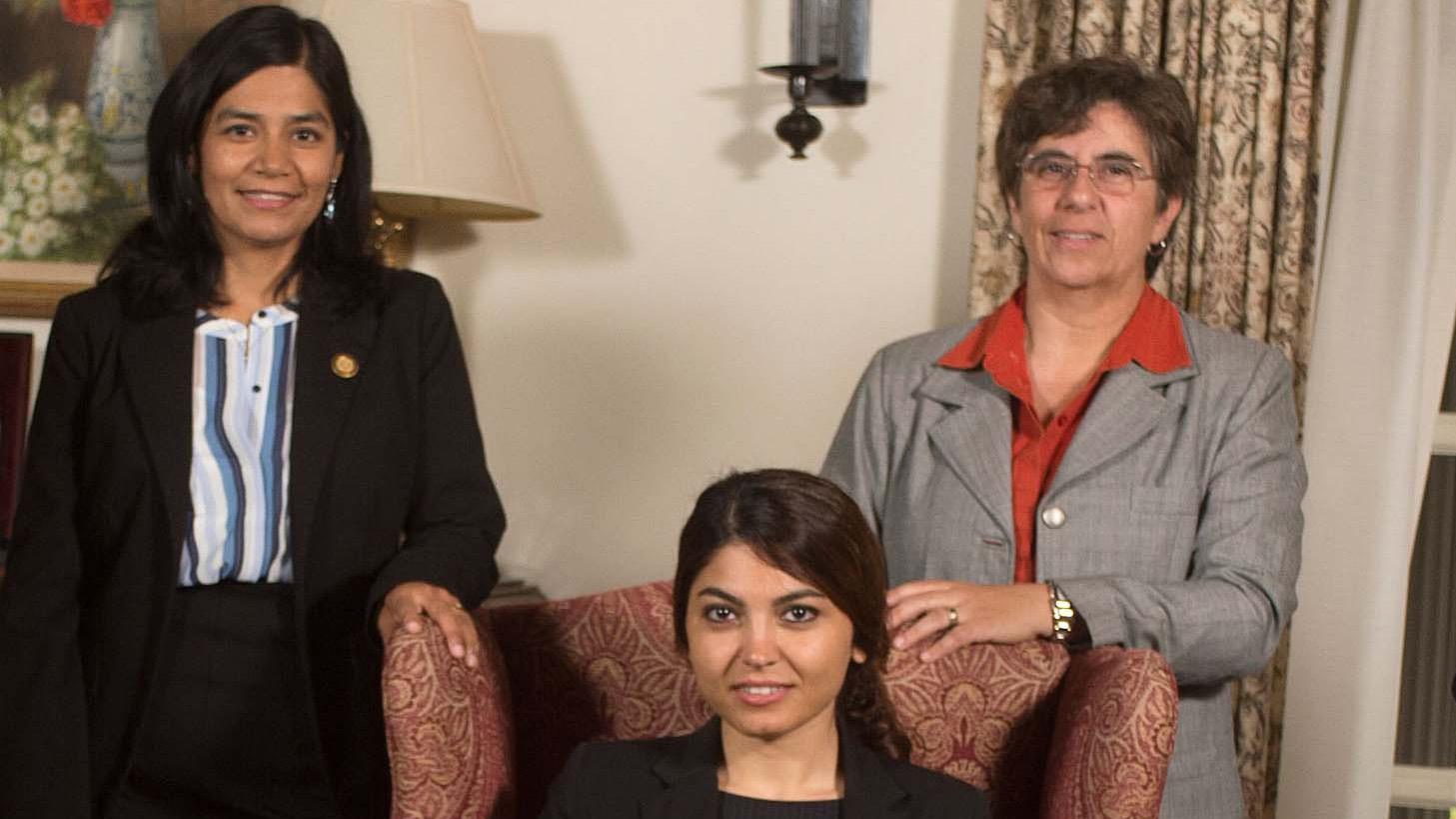 From left to right: Civil Engineering Professor Monica Palomo; Industrial & Manufacturing Engineering Professor Shokoufeh Mirzaei; and Civil Engineering Professor Francelina Neto.