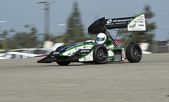 Conner Morris drives the Cal Poly Pomona Formula SAE car during a test session at Cable Airport in Upland.