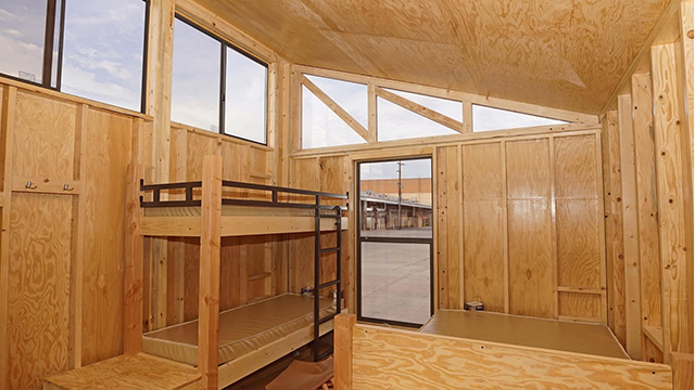 "The interior of the ""Wedge"" prototype cabin created by Cal Poly Pomona architecture graduate students."
