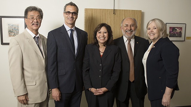 Former U.S. Secretary of Labor Hilda Solis, center, is pictured with Kerry Doi, Zeth Ajemian, Cal Poly Pomona President Michael Ortiz, and keynote speaker Jane Oates.