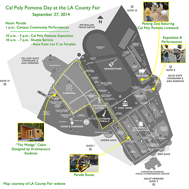 A map of activities for Cal Poly Pomona Day at the L.A. County Fair, Sept. 27, 2014.