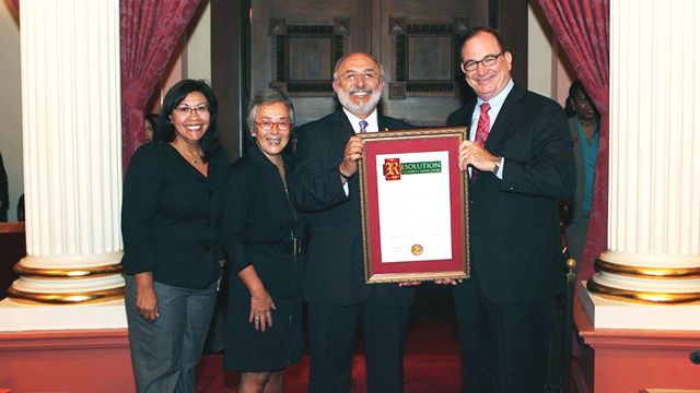 State Senate Republican Leader Bob Huff, right, along with Senators Norma Torres, left, and Carol Liu, second from left, present a resolution to Cal Poly Pomona President Michael Ortiz, recognizing the university's 75th anniversary. The ceremony took place Aug. 11 in the Capitol in Sacramento.