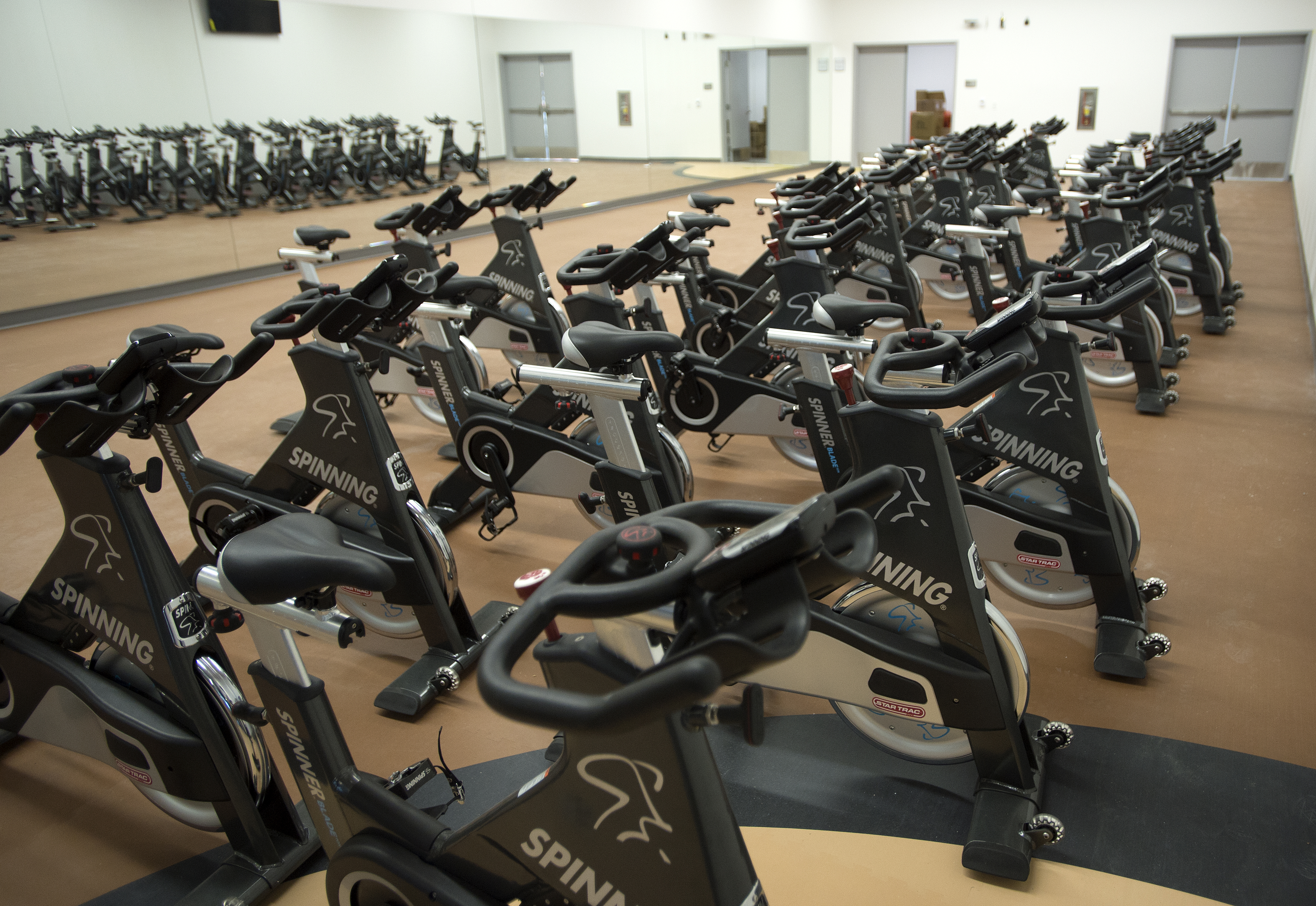 Spinning cycles await use in one of the fitness studios on the first floor of the new Bronco Recreation and Intramural Complex that opens Friday, Sept. 26.