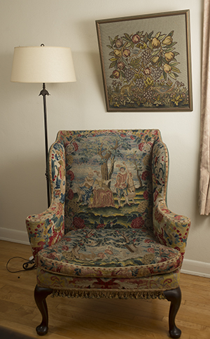 The late Jean Kellogg gave this antique needle-point upholstered chair to Kellogg House Pomona. The chair originally belonged to W.K. Kellogg and inspired the Kellogg Local Artists-in-Residence program.