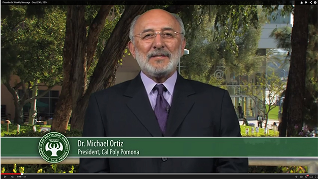 President Ortiz delivers his first video message of the fall quarter 2014.