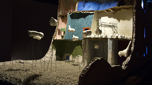 """Item # 86 Tiffany Ma Category: Clay An Orchestrated Comfort, 2014 Mixed Media - Clay, Wire, Ink, Found Objects approx. 84 x 120 x 108"""" Courtesy of the artist"""
