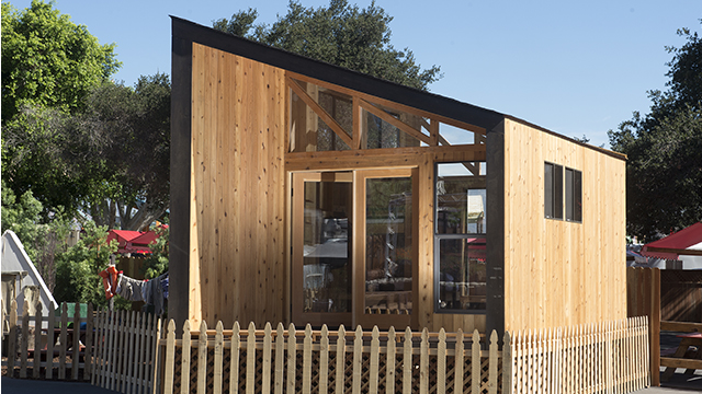 The Wedge Cabin designed by Cal Poly Pomona architecture students is on display at the L.A. County Fair through Sept. 28.