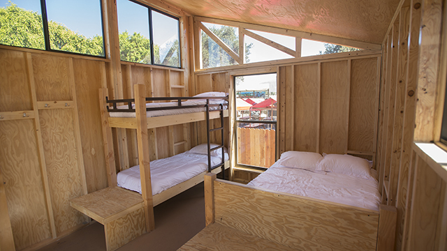 Interior of the Wedge cabin designed by Cal Poly Pomona architecture students is on display at the L.A.County Fair.