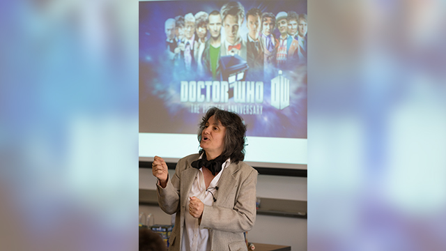 "IGE Professor Rosanne Welch gives a lecture on ""Doctor Who"" at the University Library, which is hosting a lecture series on a variety of topics this quarter."