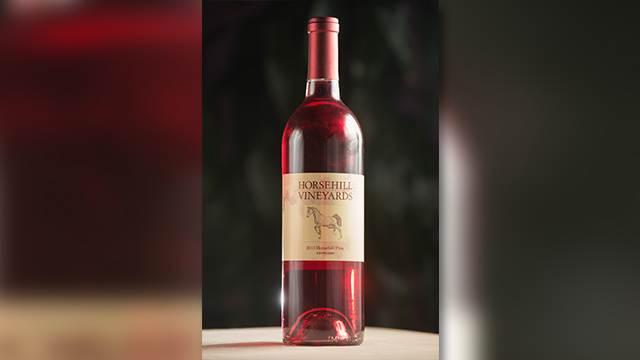 A bottle of Horsehill Vineyards' latest wine, the 2013 Horsehill Pink, South Coast.