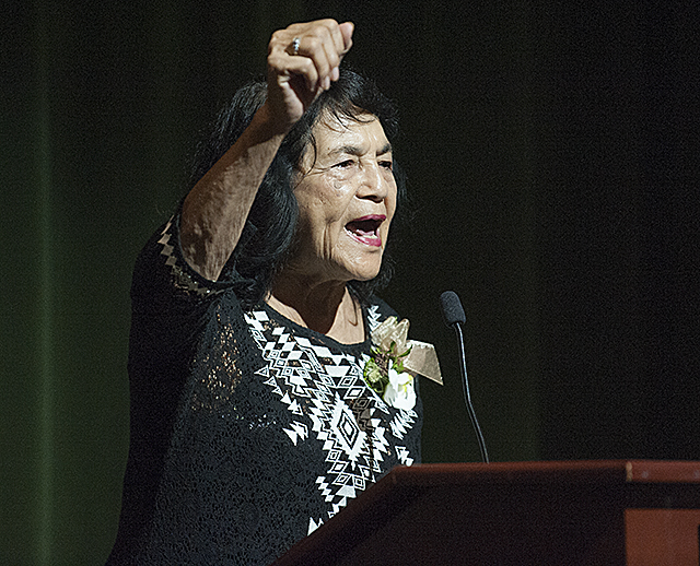 Dolores Huerta, labor leader and civil rights activist, speaks at Cal Poly Pomona as part of the WK Kellogg Distinguished Lectureship series.