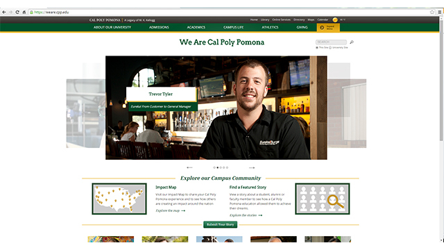 "A screenshot of ""We are Cal Poly Pomona,"" a new website that showcases the outstanding alumni, students faculty and staff who are leaders, influencers and community partners."