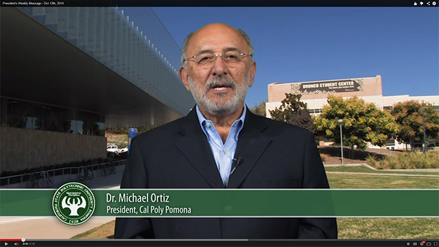 President Ortiz delivers his video message for the week of Oct. 13, 2014.
