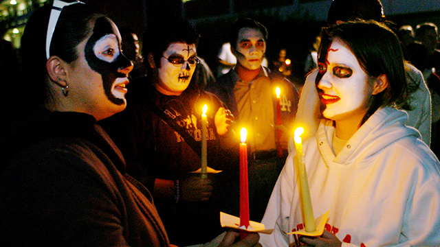 Students dressed up at a Dia de Los Muertos celebration at Cal Poly Pomona several years ago.