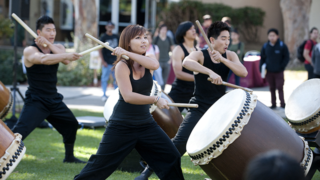 Touzan Taiko drummers perform at the International Food Festival in University Park, part of International Education Week in 2011.