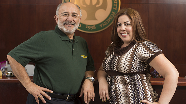 CSU Trustee Scholarship winner and sociology major Natalie Rivera with Cal Poly Pomona President Michael Ortiz.