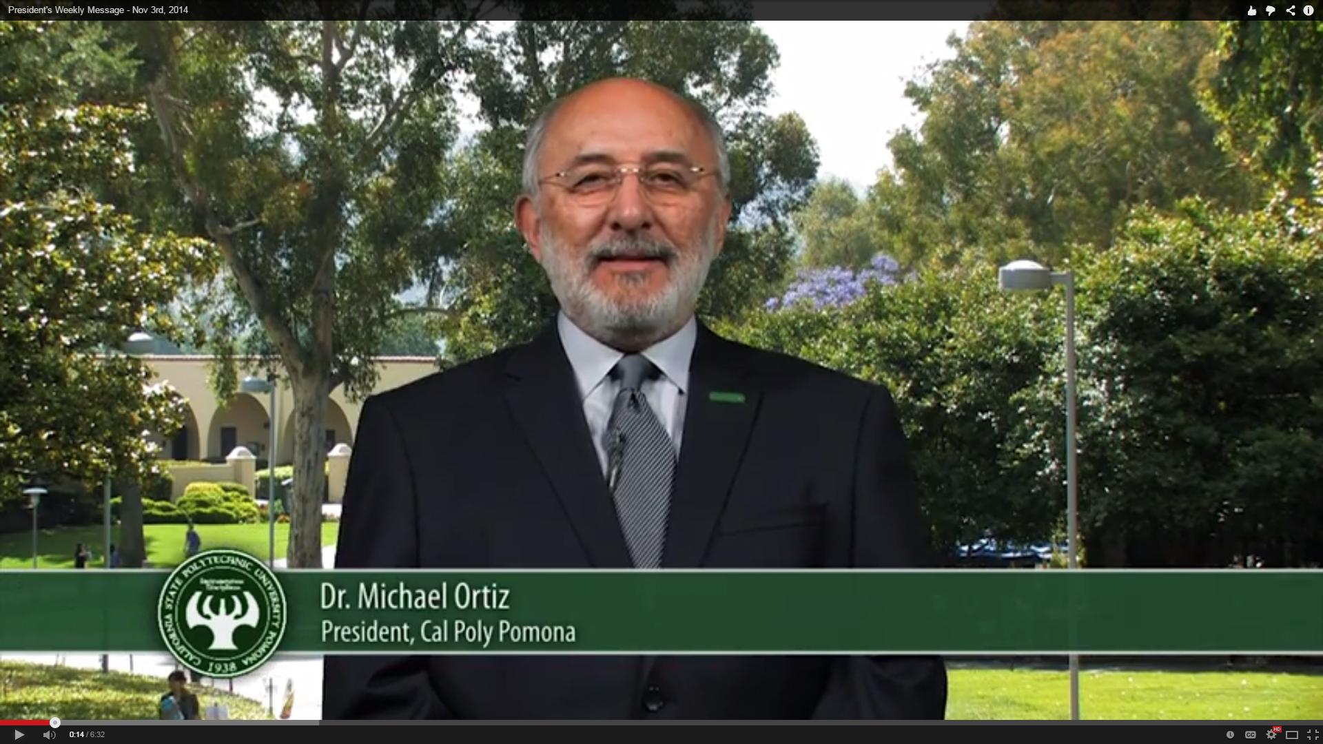 President Ortiz delivers his video update for Nov. 3, 2014.