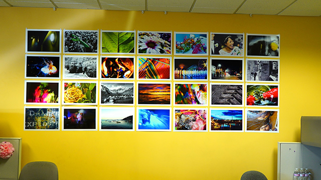Student photography on display at the SchoolsFirst Credit Union in Huntington Beach.